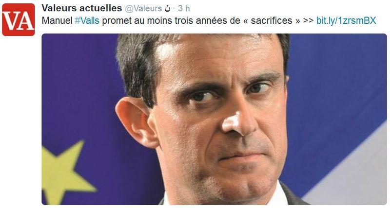 Valls promet 3 années de sacrifices-29.12.2014