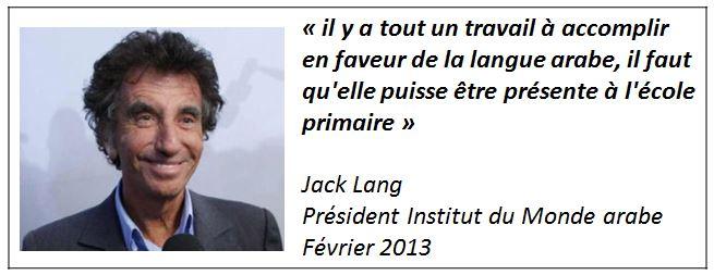 TWEET -Jack Lang - langue arabe dans le primaire