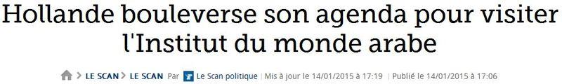 Hollande va visiter l'institut du monde arabe-14.01.2015
