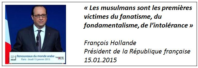 TWEET - Hollande - Institut du monde arabe - Paris - 15.01.2015