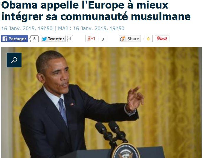 Obama appelle l'Europe à mieux intégrer la communauté musulmane - 16.01.2015