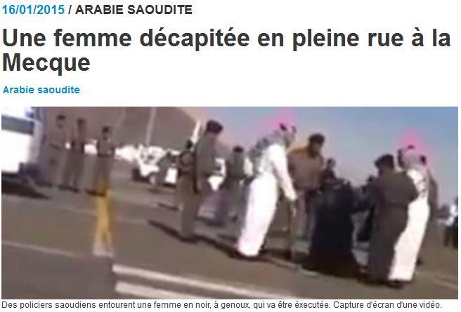 Arabie séoudite - une femme décapitée en plein rue - 15.01.2015