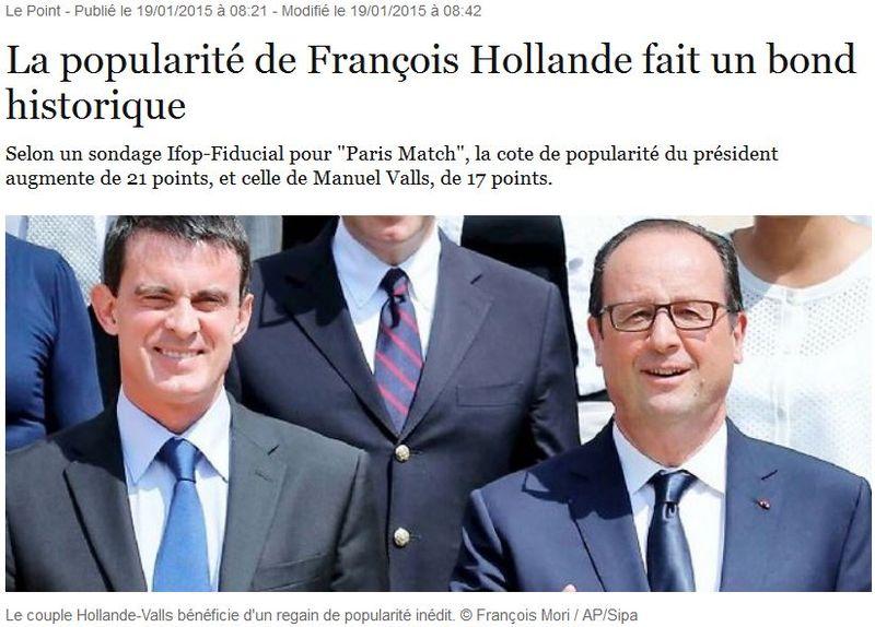 Hollande Valls -cotes de popularité hausse historique - 19.01.2015