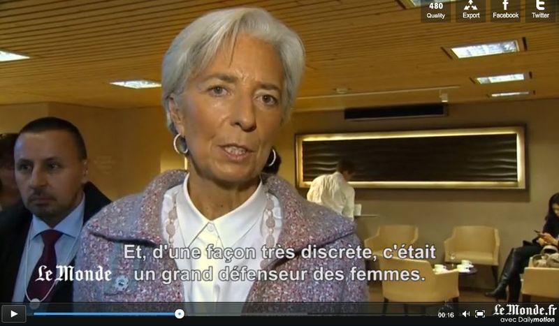 Capture Christine Lagarde -déclaration sur le roi d'Arabie saoudite décédé - 25.01.2015
