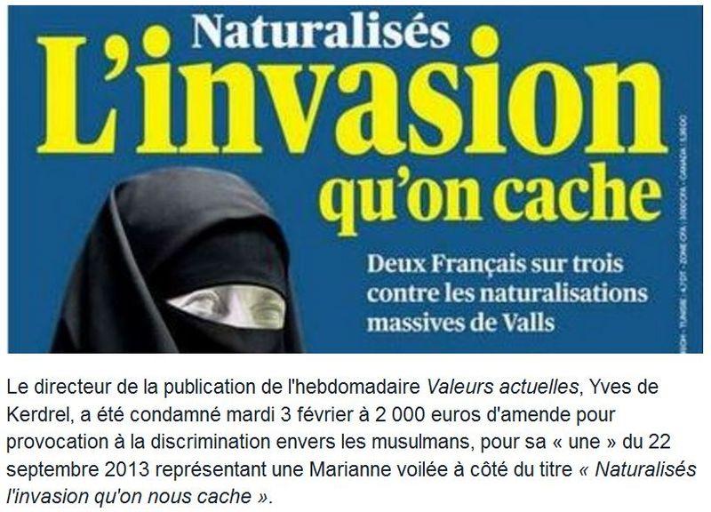 Valeurs actuelles - Couv L'invasion qu'on nous cache-22 sept 2013