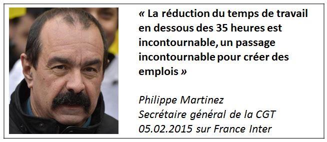 TWEET-Philippe Martinez sur les 35 heures-CGT- 05.02.2015