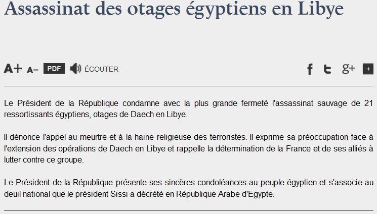 Chrétiens coptes en Libye.  - communiqué Elysée - 16.02.2015JPG