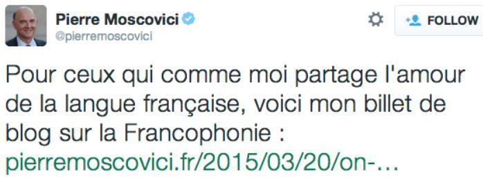 TWEET-Moscovici sur la francophonie-20 mars 2015