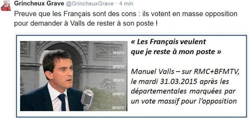 TWEET Valls je reste - 31.03.2015