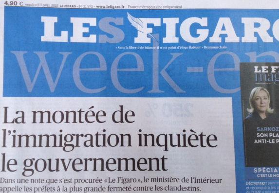 Une Le Figaro le 03.04.2015