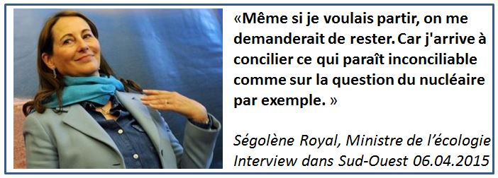 TWEET Ségolène Royal irremplaçable - avril 2015