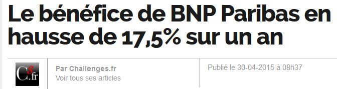 BNP bénéfices en hausse
