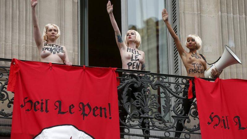 Femen salut nazi le 1er mai 2015
