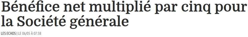 Société Générale - bénéfice multipié par cinq-06.05.2015