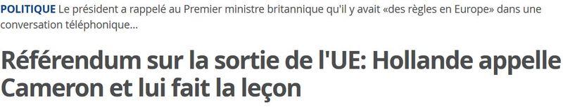Referendum anglais  sur l'UE - Hollande fait la leçon à Cameron - mai 2015