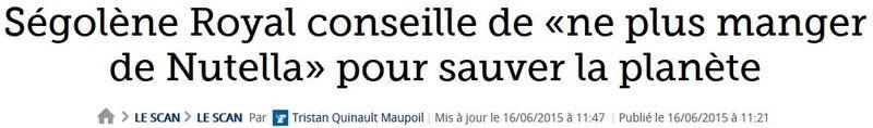 Ségolène Royal conseille de ne plus manger de Nutella