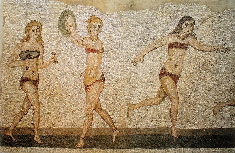 Femmes en bikini dans l'antiquité à Casale en Sicile