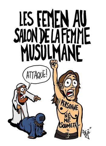 Femen au salon de la femme musulmane à Pontoise-12.09.2015-