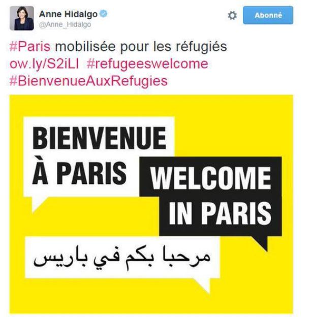 TWEET-Anne Hidalgo-maire de Paris - Bienvenue en arabe