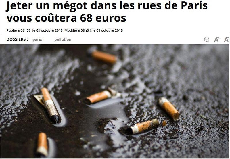 Mégots dans les rues de Paris-01.10.2015