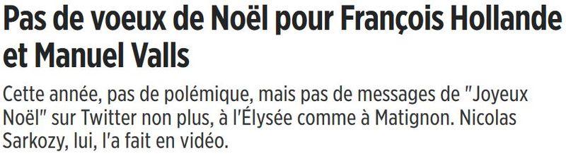 NOEL 2015-pas de voeux de Hollande ni Valls