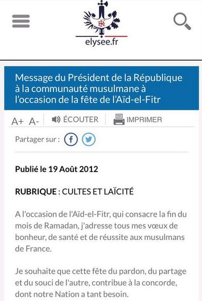Elysée-Message Hollande aux musulmans-Aïd-el-Fitr-19.08.2012