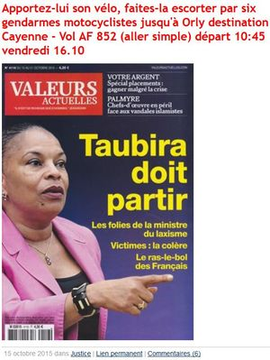 Taubira doit partir-Couv Valeurs actuelles-15.10.2015