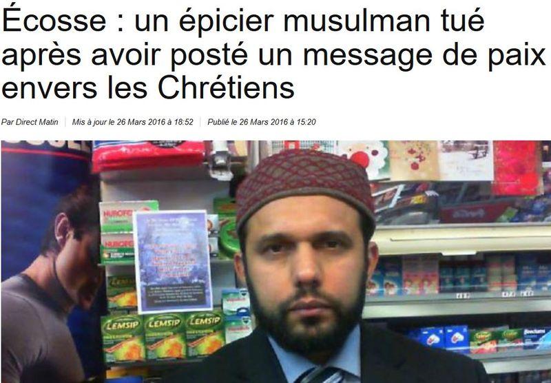 Ecosse un épicier musulman tué-Pâques