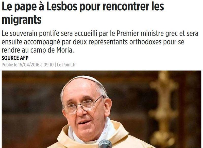 Le pape à Lesbos-16.04.2016