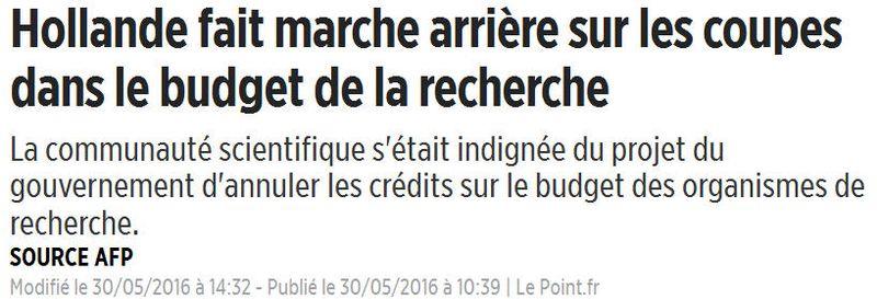 Coupes dans les budgets Recher-Hollande en marche arrière-30.05.2016