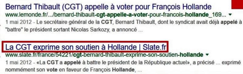 La CGT appelle à voter Hollande-01.05.2012