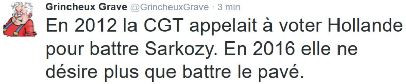 TWEET GG-La CGT ne désire plus que battre le pavé-22.06.2016