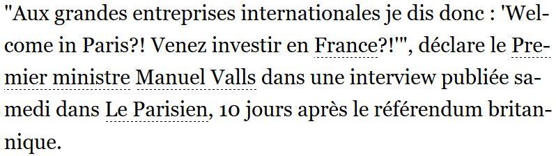 Venez investir en France dit Manuel Valls