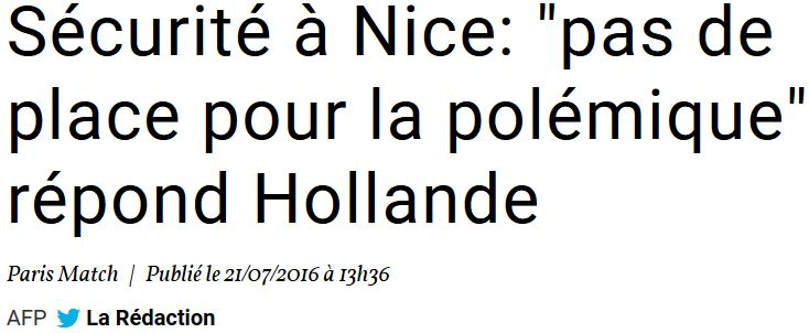 NICE-Hollande-pas de place pour la polémique-21.07.2016