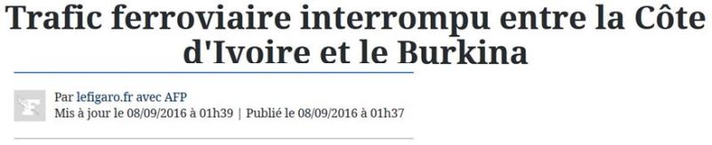 Traffic ferroviaire interrompu entre Côte d'Ivoir et Burkina-08.09.2016