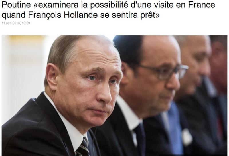 Poutine examinera la possibilité d'une visite en France-11.10.2016