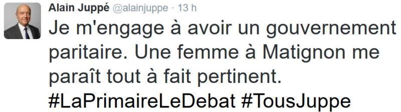 TWEET-Juppé-gouvernement paritaire-03.11.2016