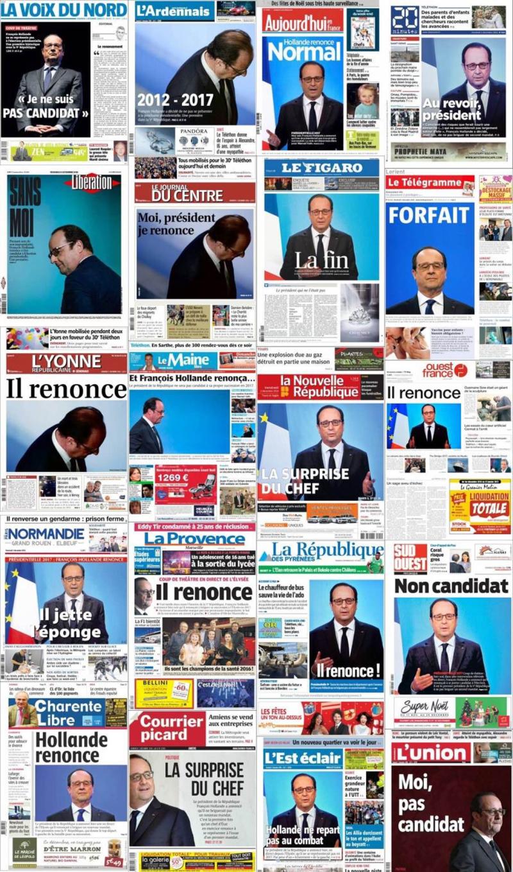 Hollande renonce-les unes de la presse-02.12.2016