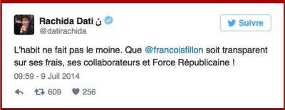 TWEET-Rachida Dati sur Fillon-09.07.2014