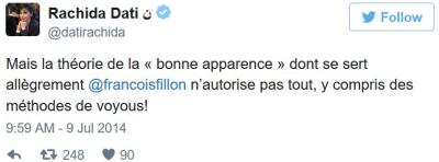 TWEET-Rachida Dati sur Fillon-09.07.2014-bis