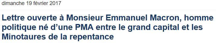 Bernard Lugan - Lettre à Macron-19.02.2017