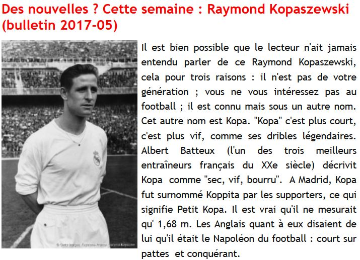 Des nouvelles-Raymond Kopa