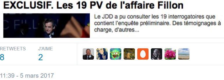 Le JDD a les 19 PV affaire Fillon-05.03.2017