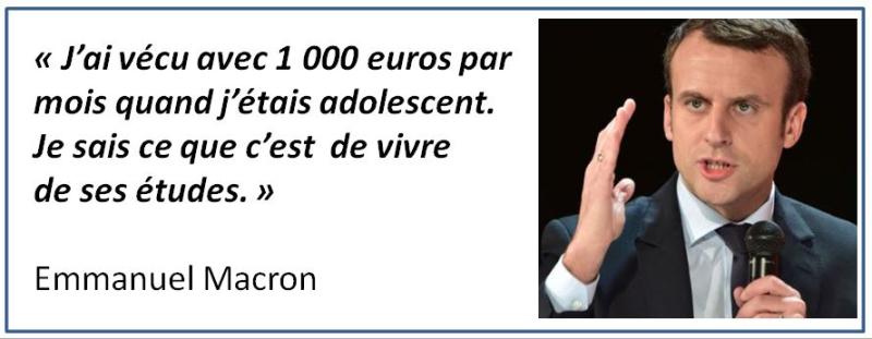 Macron adolescent 1000 euros par mois