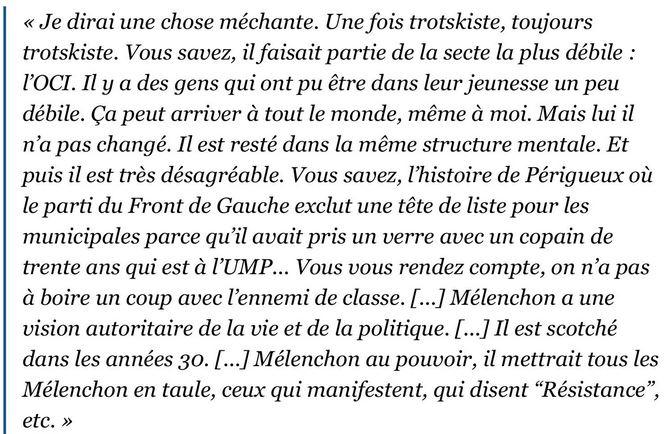 Opinion de Cohn-Bendit sur JL Mélenchon en mars 2014