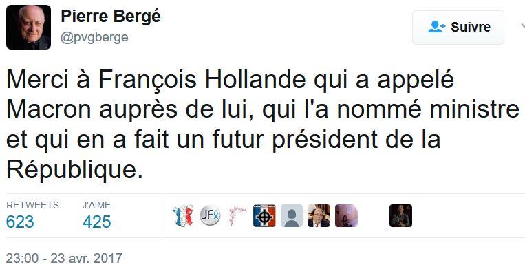 TWEET Pierre Bergé 23.04.2017