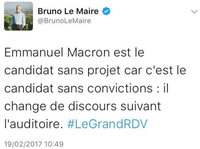TWEET Bruno Le Maire 19.02.2017