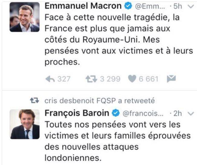 Attentats Londres juin 2017-Macron et Baroin envoient des pensées