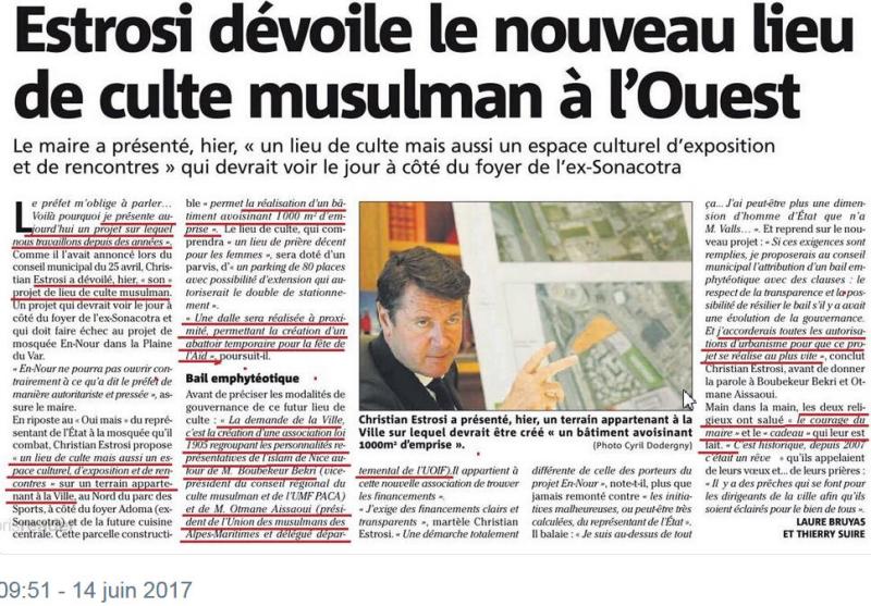 Estrosi-nouvelle mosquée à Nice-juin 2017