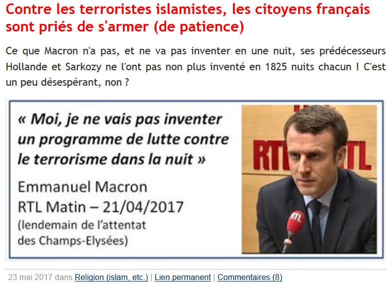 Macron programme de lutte contre l'islamisme BLOG GG-21.04.2017